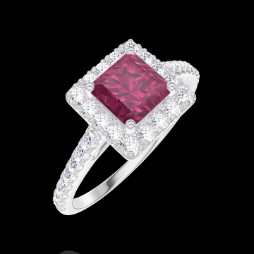 Ring Create Engagement 170344 Wit goud 9 karaat - Robijn Prinses 0.5 Karaat - Halo Diamant - Setting Diamant