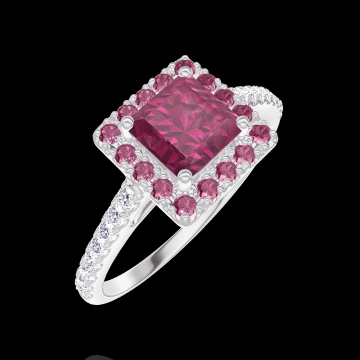 Bague Create 170360 Or blanc 9 carats - Rubis Princesse 0.5 carat - Halo Rubis - Sertissage Diamant