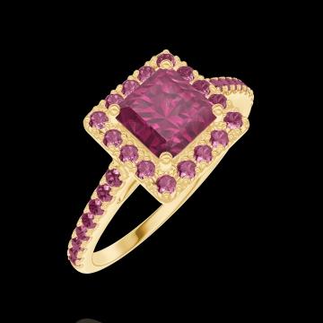 Bague Create 170361 Or jaune 18 carats - Rubis Princesse 0.5 carat - Halo Rubis - Sertissage Rubis