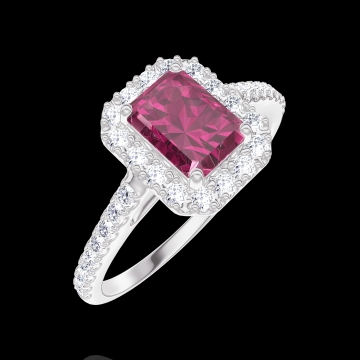 Bague Create 170391 Or blanc 18 carats - Rubis Rectangle 0.5 carat - Halo Diamant - Sertissage Diamant