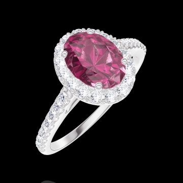 Bague Create 170439 Or blanc 18 carats - Rubis Ovale 0.5 carat - Halo Diamant - Sertissage Diamant
