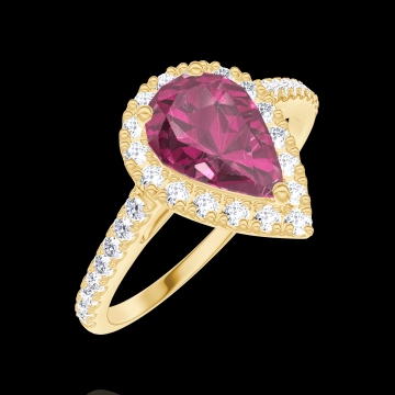 Bague Create 170485 Or jaune 18 carats - Rubis Poire 0.5 carat - Halo Diamant - Sertissage Diamant
