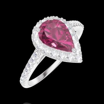 Bague Create 170487 Or blanc 18 carats - Rubis Poire 0.5 carat - Halo Diamant - Sertissage Diamant