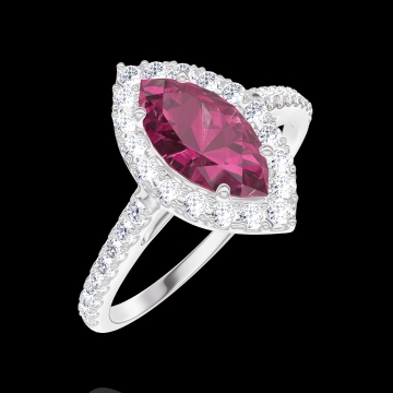 Bague Create 170536 Or blanc 9 carats - Rubis Marquise 0.5 carat - Halo Diamant - Sertissage Diamant