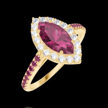 Anello Create Engagement 170538 Oro giallo 9 carati - Rubino Marchesa 0.5 Carati - Halo Diamante - Incastonatura Rubino