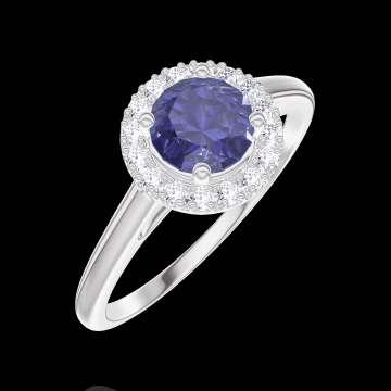 Ring Create 170580 White gold 9 carats - Blue Sapphire Round 0.5 Carats - Halo Diamond white