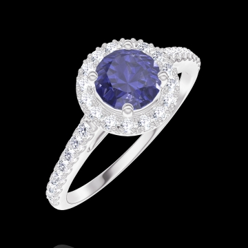 Anillo Create 170583 Oro blanco 18 quilates - Zafiro azul redondo 0.5 quilates - Halo Diamante - Engastado Diamante
