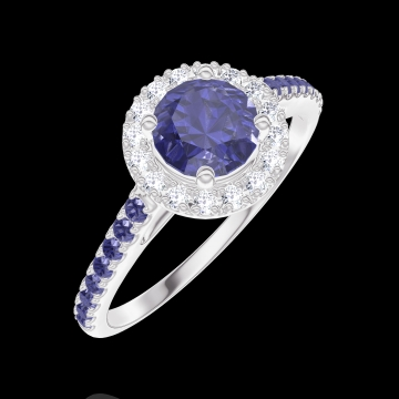 Bague Create 170592 Or blanc 9 carats - Saphir bleu Rond 0.5 carat - Halo Diamant - Sertissage Saphir bleu