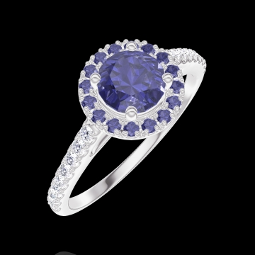 Anello Create Engagement 170615 Oro bianco 18 carati - Zaffiro blu Rotondo 0.5 Carati - Halo Zaffiro blu - Incastonatura Diamante naturale