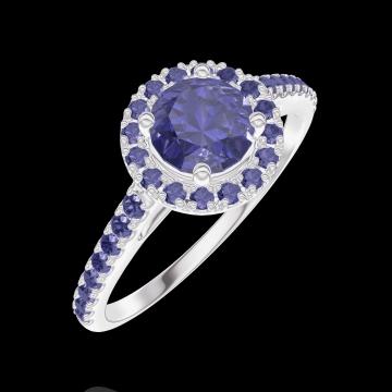 Bague Create 170624 Or blanc 9 carats - Saphir bleu Rond 0.5 carat - Halo Saphir bleu - Sertissage Saphir bleu