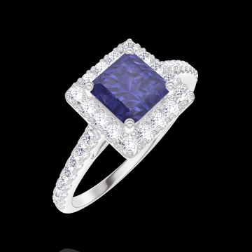 Ring Create 170632 Witgoud 9 karaat - Blauwe saffier Prinses 0.5 Karaat - Halo Diamant - Setting Diamant