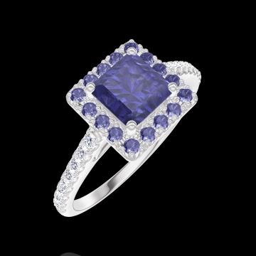 Anello Create Engagement 170664 Oro bianco 9 carati - Zaffiro blu Principessa 0.5 Carati - Halo Zaffiro blu - Incastonatura Diamante naturale