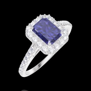 Bague Create 170680 Or blanc 9 carats - Saphir bleu Rectangle 0.5 carat - Halo Diamant - Sertissage Diamant