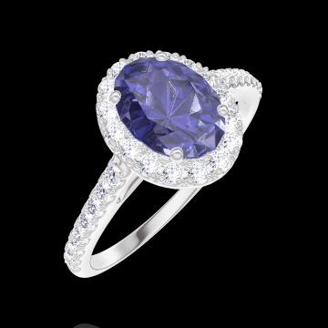 Anillo Create 170728 Oro blanco 9 quilates - Zafiro azul Ovalo 0.5 quilates - Halo Diamante - Engastado Diamante