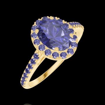 Anello Create 170765 Oro giallo 18 carati - Zaffiro blu Ovale 0.5 Carati - Halo Zaffiro blu - Incastonatura Zaffiro blu