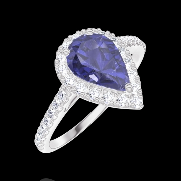 Anello Create Engagement 170776 Oro bianco 9 carati - Zaffiro blu Goccia 0.5 Carati - Halo Diamante - Incastonatura Diamante
