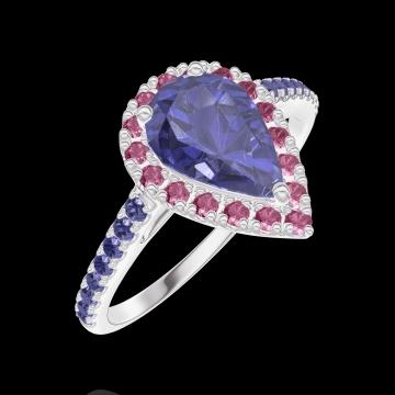 Anello Create 170800 Oro bianco 9 carati - Zaffiro blu Goccia 0.5 Carati - Halo Rubino - Incastonatura Zaffiro blu