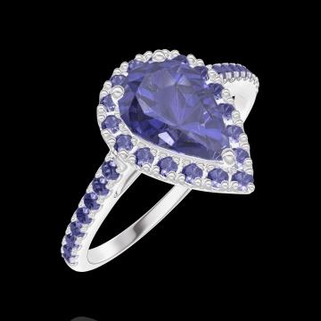Bague Create 170816 Or blanc 9 carats - Saphir bleu Poire 0.5 carat - Halo Saphir bleu - Sertissage Saphir bleu
