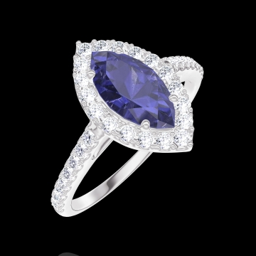 Ring Create 170824 White gold 9 carats - Blue Sapphire Marquise 0.5 Carats - Halo Diamond white - Setting Diamond white