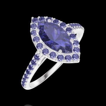 Bague Create 170864 Or blanc 9 carats - Saphir bleu Marquise 0.5 carat - Halo Saphir bleu - Sertissage Saphir bleu
