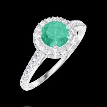 Anello Create 170871 Oro bianco 18 carati - Smeraldo Rotondo 0.5 Carati - Halo Diamante - Incastonatura Diamante