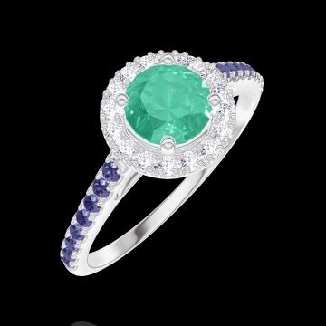 Bague Create 170880 Or blanc 9 carats - Émeraude Rond 0.5 carat - Halo Diamant - Sertissage Saphir bleu