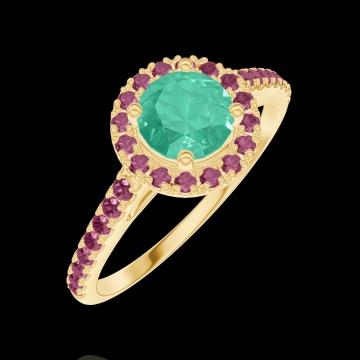 Bague Create Engagement 170889 Or jaune 18 carats - Émeraude Rond 0.5 carat - Halo Rubis - Sertissage Rubis