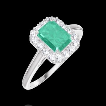 Ring Create 170964 Weißgold 375/-(9Kt) - Smaragd Rechteckig 0.5 Karat - Halo Diamant