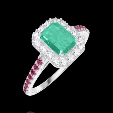 Bague Create 170972 Or blanc 9 carats - Émeraude Rectangle 0.5 carat - Halo Diamant - Sertissage Rubis