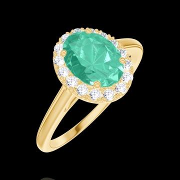 Anello Create 171010 Oro giallo 9 carati - Smeraldo Ovale 0.5 Carati - Halo Diamante