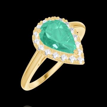 Bague Create 171058 Or jaune 9 carats - Émeraude Poire 0.5 carat - Halo Diamant