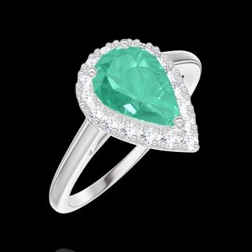 Bague Create 171060 Or blanc 9 carats - Émeraude Poire 0.5 carat - Halo Diamant