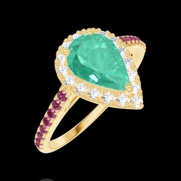 Anello Create Engagement 171066 Oro giallo 9 carati - Smeraldo Goccia 0.5 Carati - Halo Diamante naturale - Incastonatura Rubino