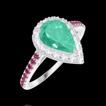 Bague Create Engagement 171068 Or blanc 9 carats - Émeraude Poire 0.5 carat - Halo Diamant - Sertissage Rubis