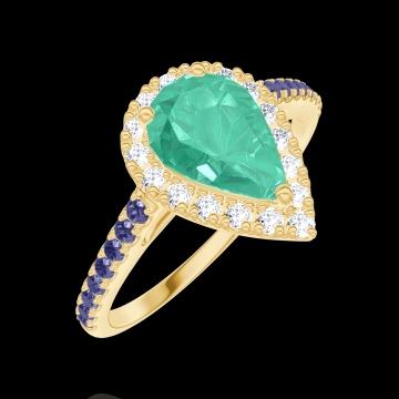 Anello Create Engagement 171070 Oro giallo 9 carati - Smeraldo Goccia 0.5 Carati - Halo Diamante naturale - Incastonatura Zaffiro blu