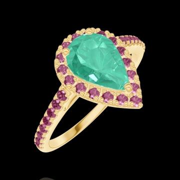 Anello Create 171081 Oro giallo 18 carati - Smeraldo Goccia 0.5 Carati - Halo Rubino - Incastonatura Rubino