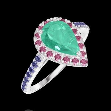 Anello Create 171087 Oro bianco 18 carati - Smeraldo Goccia 0.5 Carati - Halo Rubino - Incastonatura Zaffiro blu