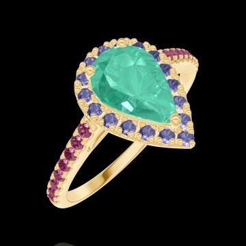 Anello Create 171097 Oro giallo 18 carati - Smeraldo Goccia 0.5 Carati - Halo Zaffiro blu - Incastonatura Rubino