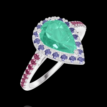 Anello Create Engagement 171099 Oro bianco 18 carati - Smeraldo Goccia 0.5 Carati - Halo Zaffiro blu - Incastonatura Rubino