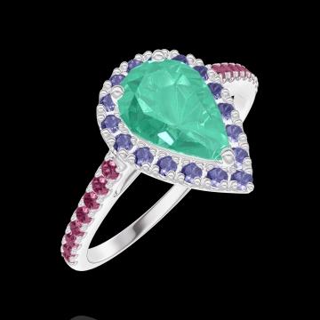 Bague Create 171099 Or blanc 18 carats - Émeraude Poire 0.5 carat - Halo Saphir bleu - Sertissage Rubis