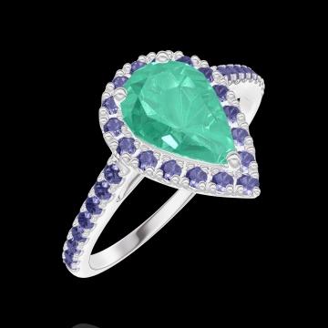 Anillo Create Engagement 171103 Oro blanco 18 quilates - Esmeralda Pera 0.5 quilates - Halo Zafiro azul - Engastado Zafiro azul
