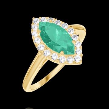 Anello Create 171106 Oro giallo 9 carati - Smeraldo Marchesa 0.5 Carati - Halo Diamante