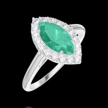 Anello Create Engagement 171108 Oro bianco 9 carati - Smeraldo Marchesa 0.5 Carati - Halo Diamante naturale
