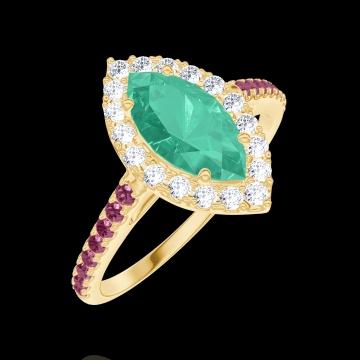Anello Create Engagement 171114 Oro giallo 9 carati - Smeraldo Marchesa 0.5 Carati - Halo Diamante naturale - Incastonatura Rubino