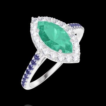 Anillo Create Engagement 171120 Oro blanco 9 quilates - Esmeralda Marquesa 0.5 quilates - Halo Diamante - Engastado Zafiro azul