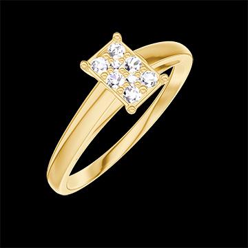 Anillo Create 209801 Oro amarillo 18 quilates - Conjunto de diamantes naturales Rectángulo equivalente 0.5