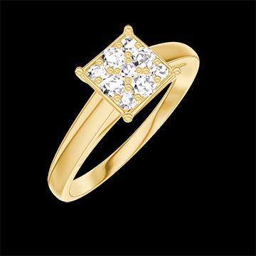 Anillo Create 210901 Oro amarillo 18 quilates - Conjunto de diamantes naturales Princesa equivalente 1