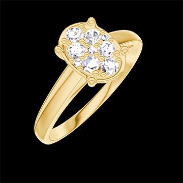 Anillo Create 211101 Oro amarillo 18 quilates - Conjunto de diamantes naturales Ovalo equivalente 1