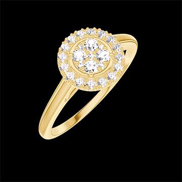 Ring Create 211401 Gelbgold 750/-(18Kt) - Pavé aus natürlichen Diamanten rund entsprechend 0.5 - Halo Diamant