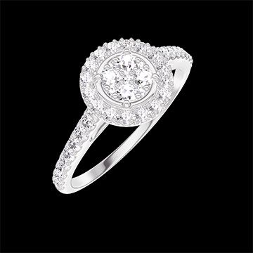 Bague Create 211407 Or blanc 18 carats - Cluster de diamants naturels Rond équivalent 0.5 - Halo Diamant - Sertissage Diamant